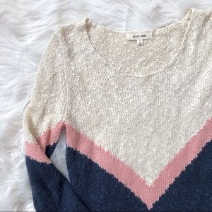 Pink Rose Soft Off White and Navy Blue Sweater